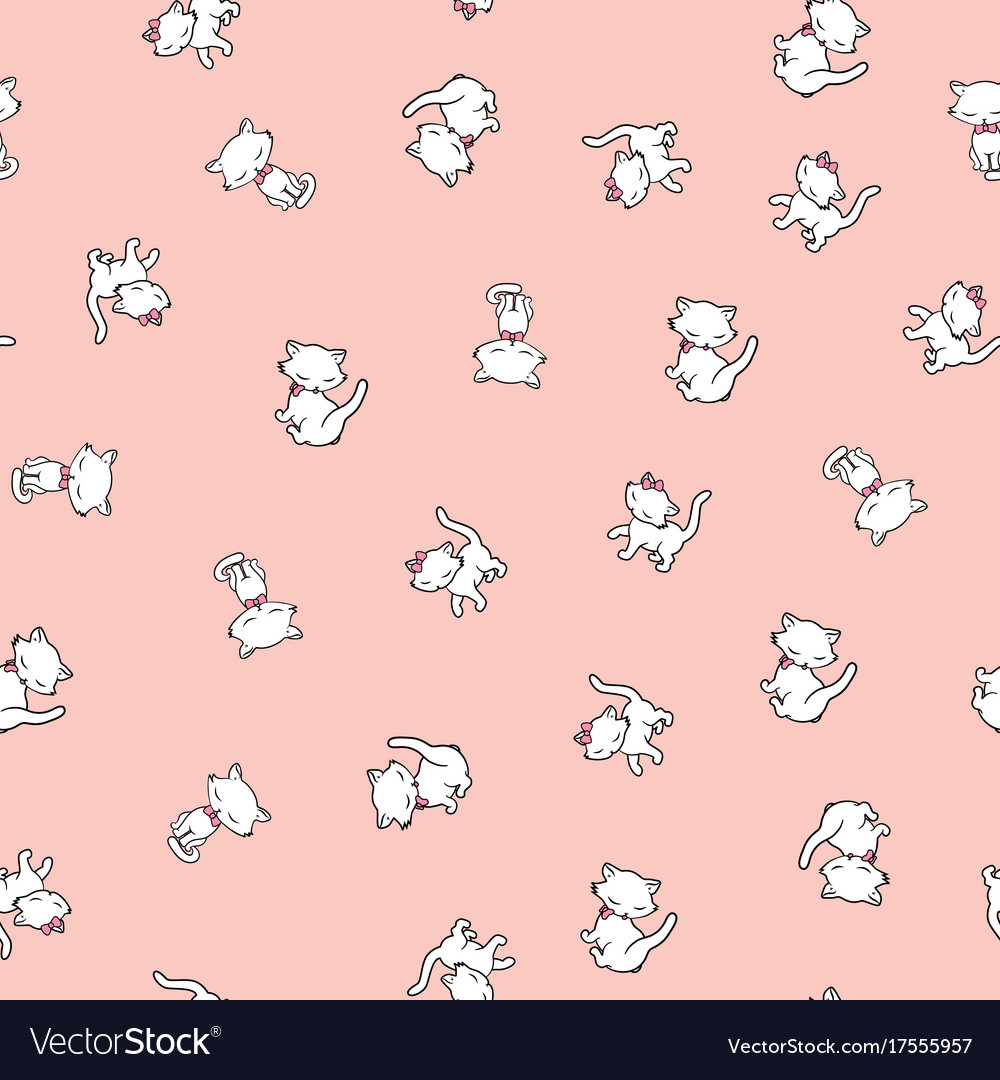 Seamless pattern with cute kitty stickers isolated vector image