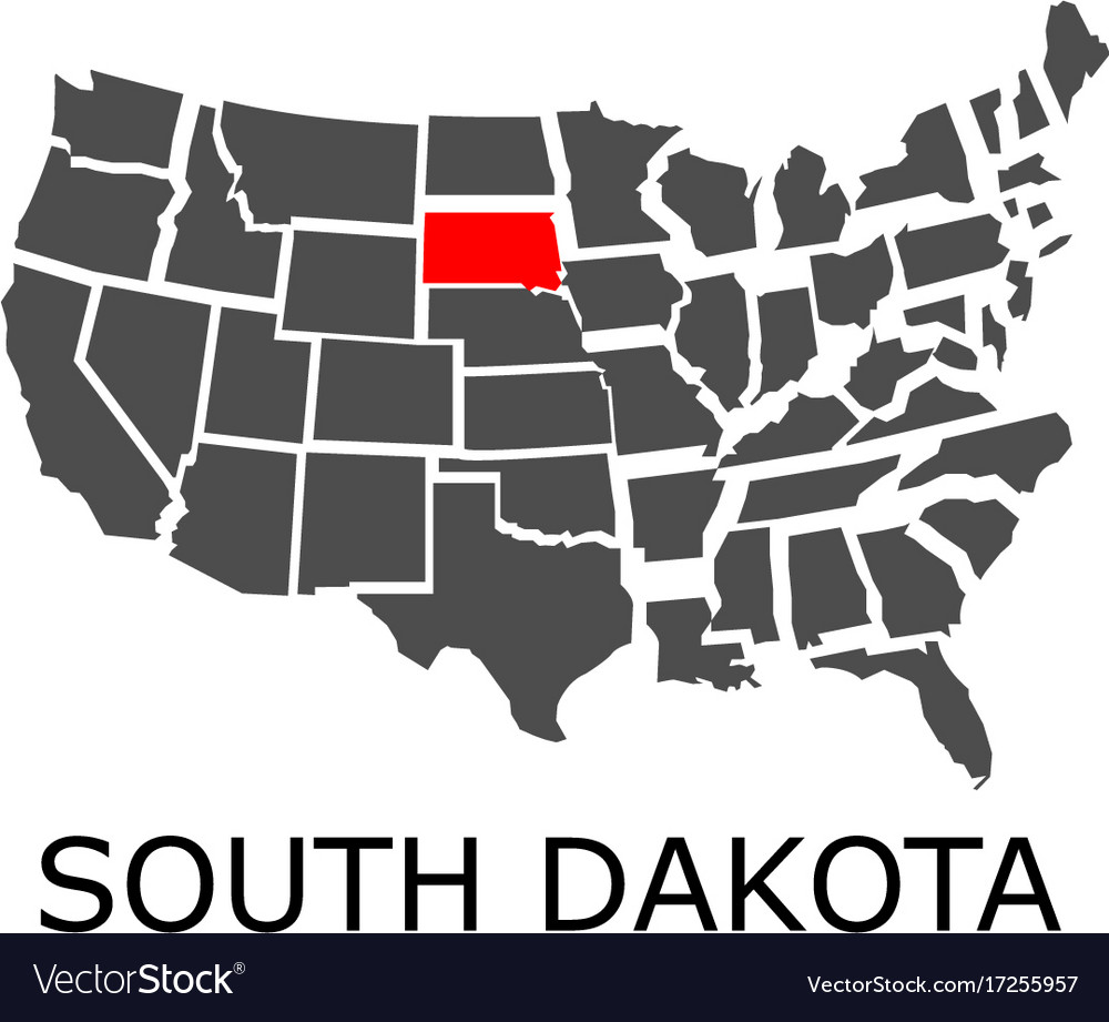 state of south dakota on map of usa vector image