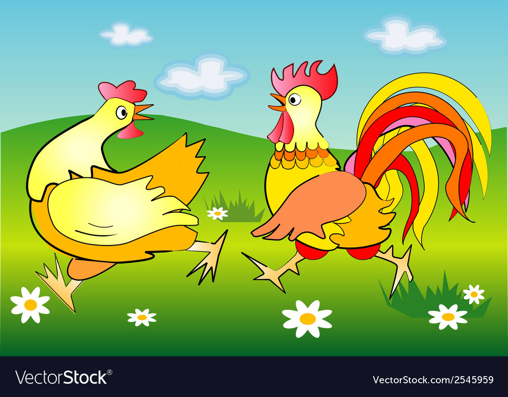 Running cockerel and pullet vector image