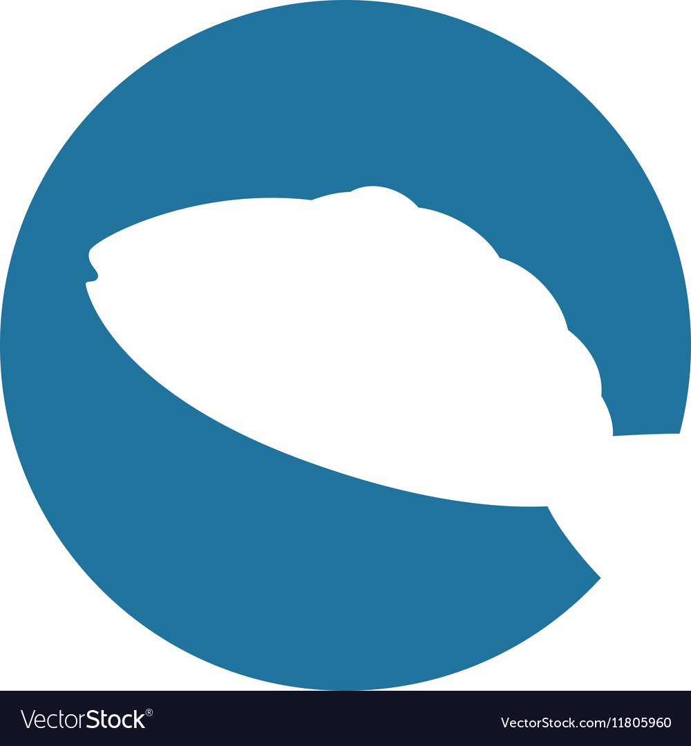 White silhouette fish blue circle background vector image