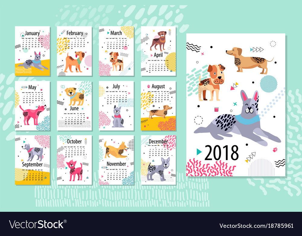 Calendar Sample 2018 Animal Vector Image  Calendar Sample Design