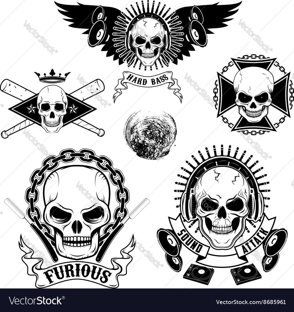 Set of emblems with skulls vector image
