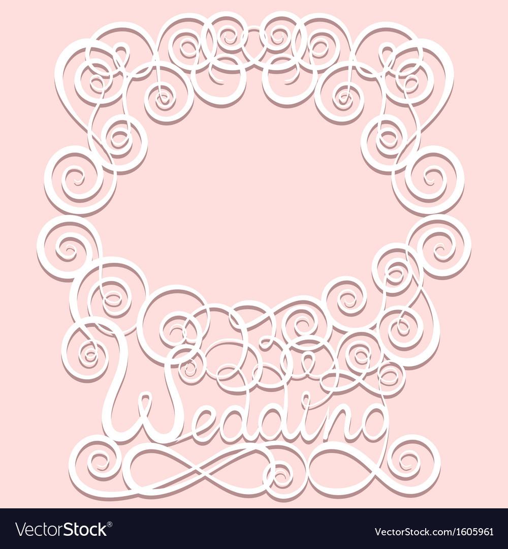 Wedding paper pattern frame vector image