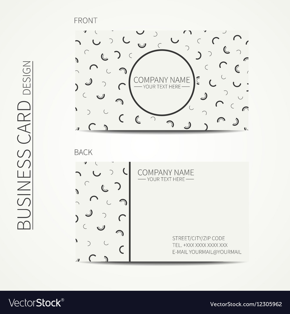 Simple business card design memphis style vector image for Business cards memphis