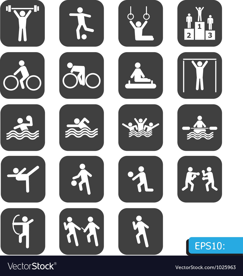 Sports icons on black button vector image
