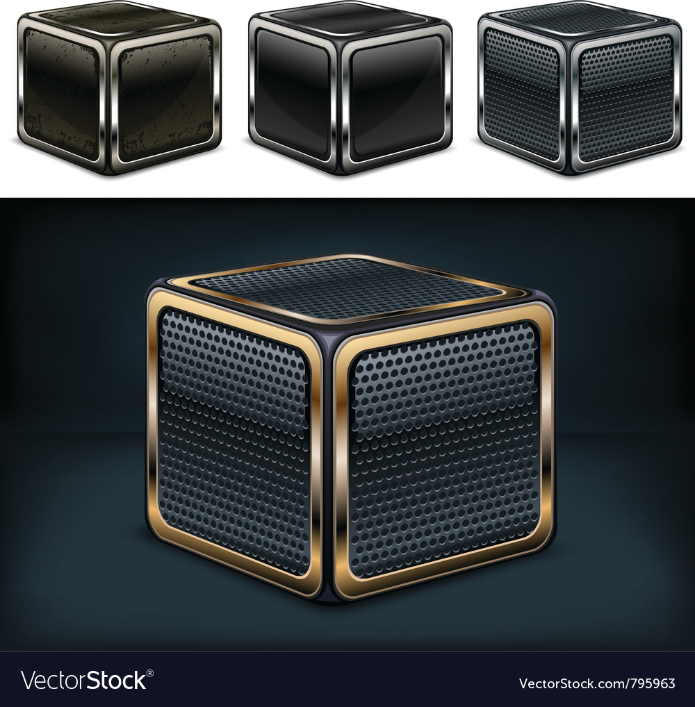 Metal cube on brushed steel plate vector image
