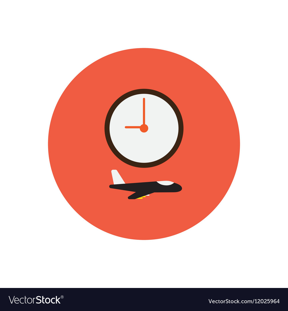 Stylish icon in color circle clock airplane