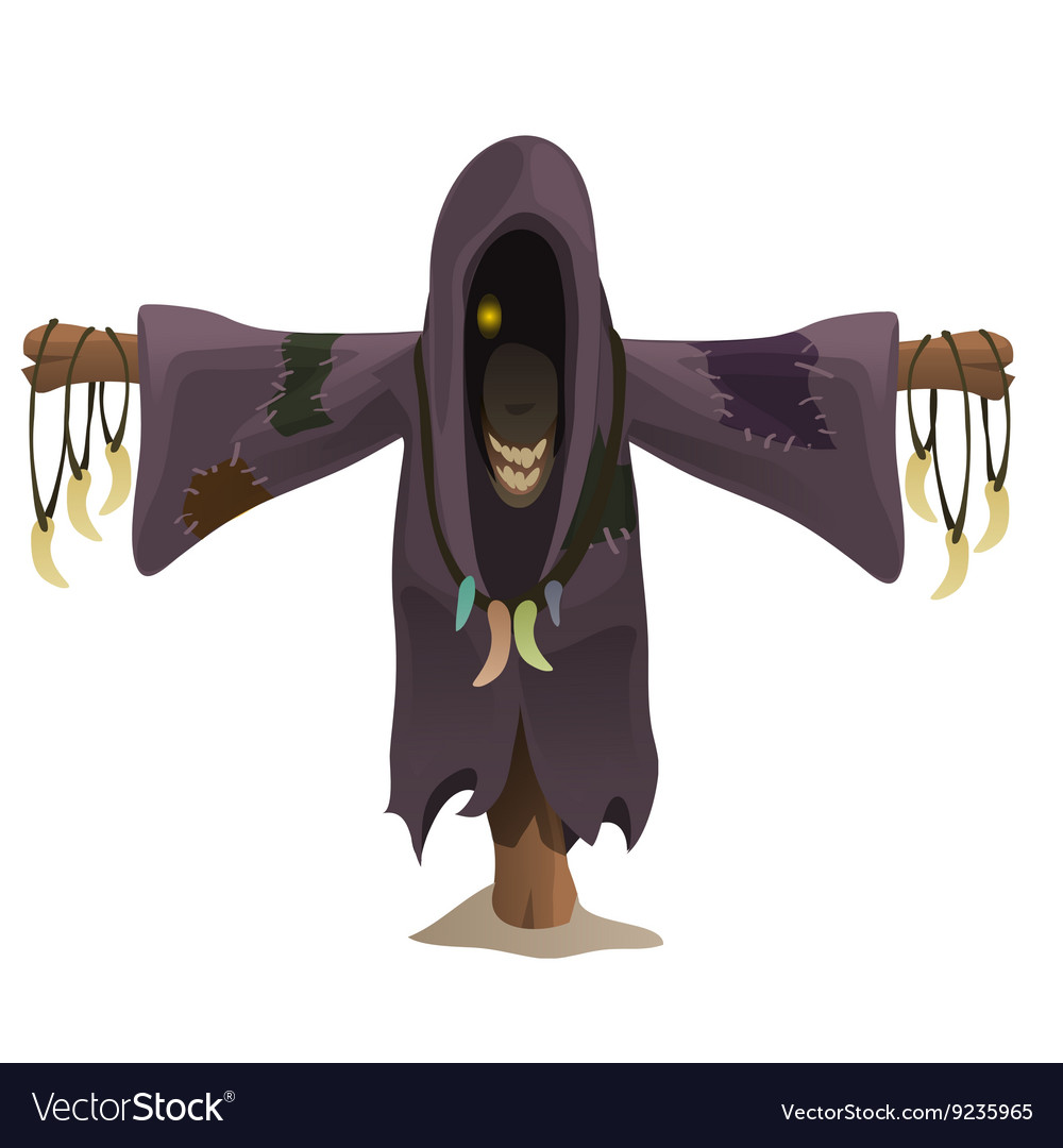 Bogeyman monster in the hood with charms fangs vector image