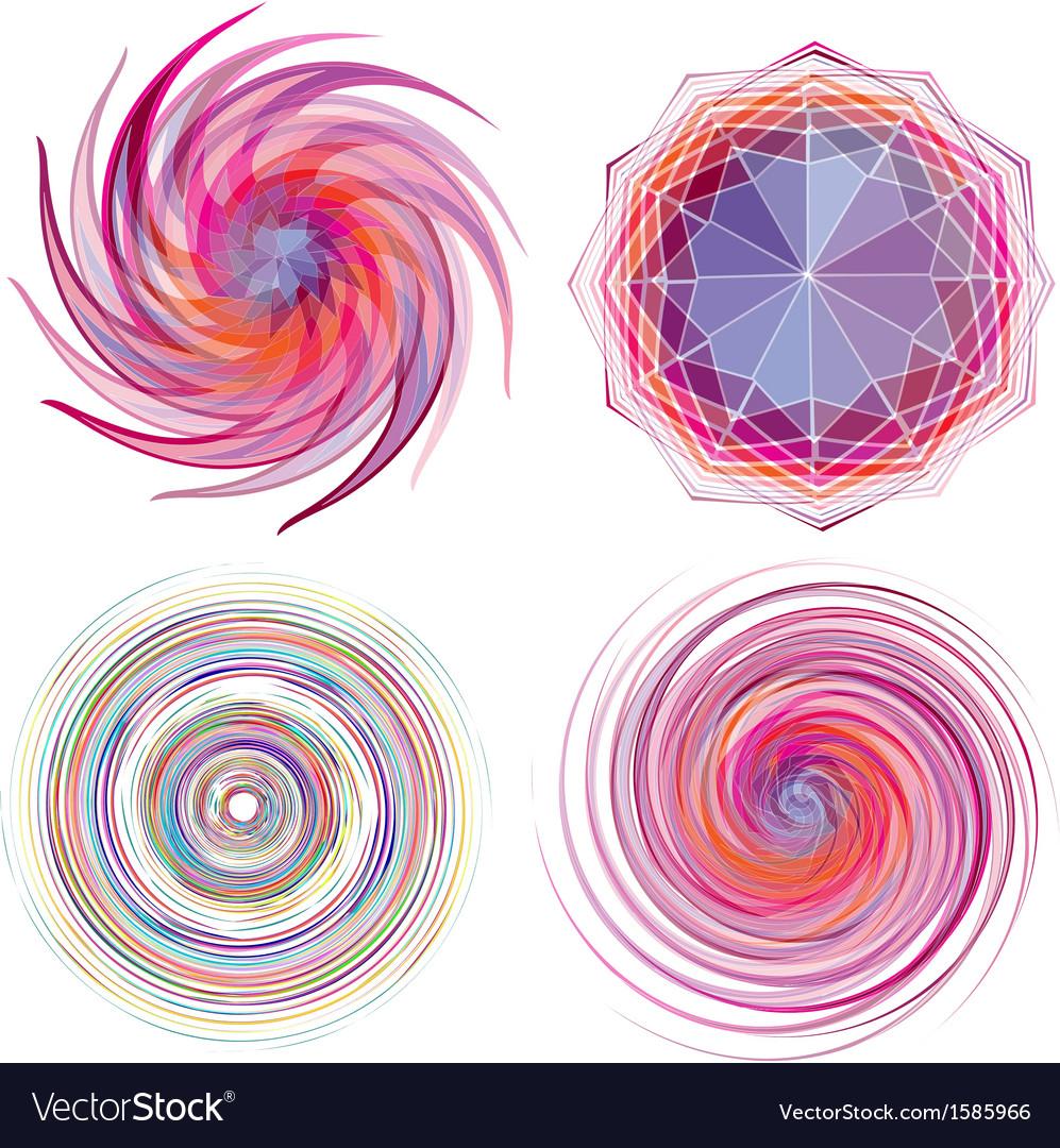 Set of four color spiral vector image