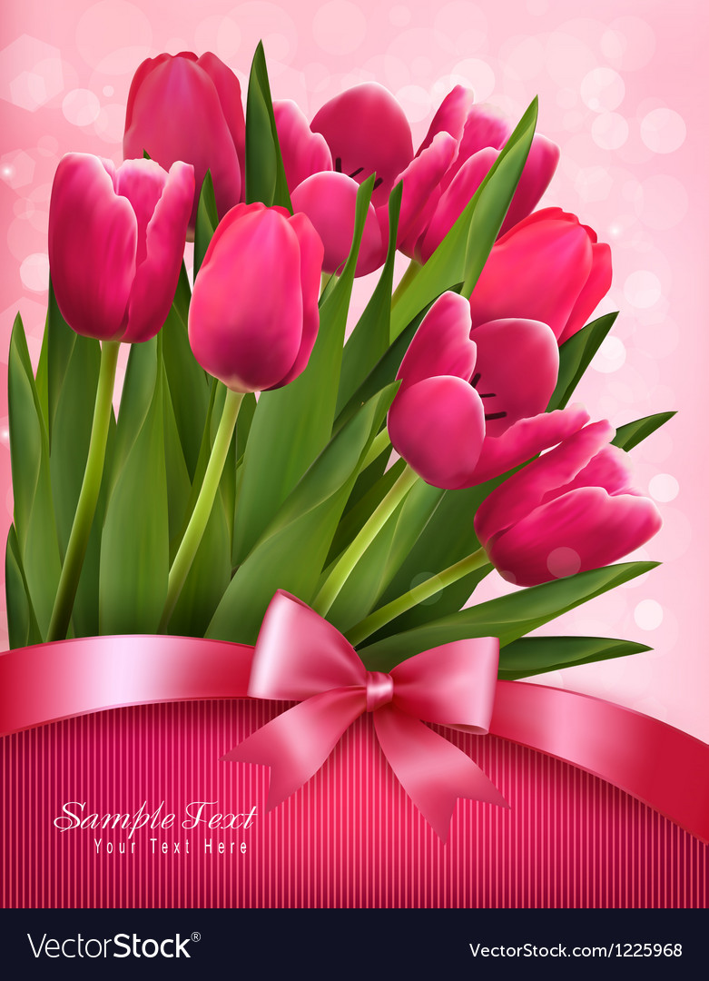 Holiday background with pink flowers and gift bow Vector Image