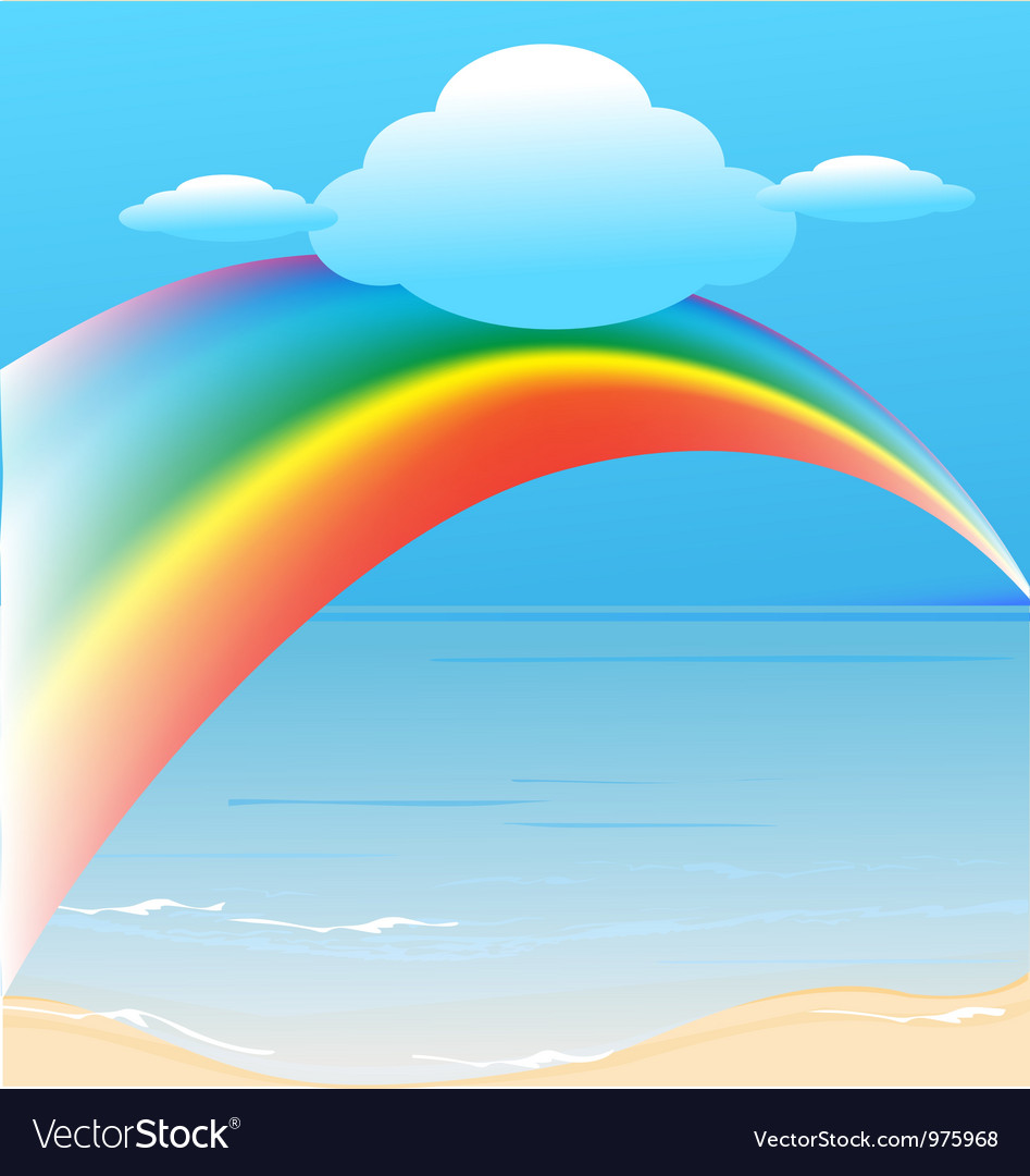 Clouds and rainbow background vector image