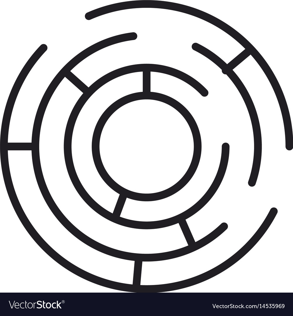 Labyrinth game shape exit search vector image