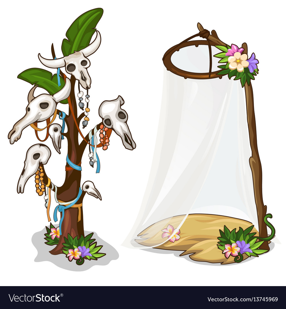 Ritual tree with skulls of animals and decorations vector image