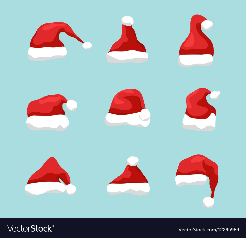 Santa hat symbol Holiday red hat santa claus vector image
