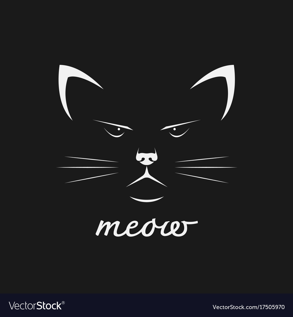 Cat face design on black background pet animal vector image