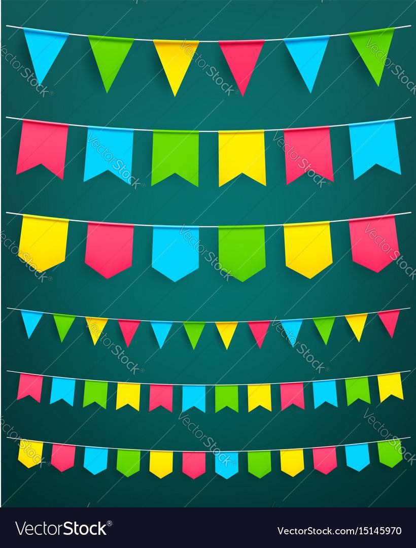 Flag garland for festival celebration decor vector image