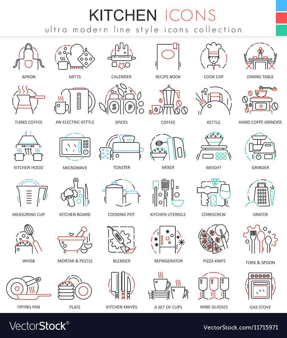 Kitchen color flat line outline icons for vector image