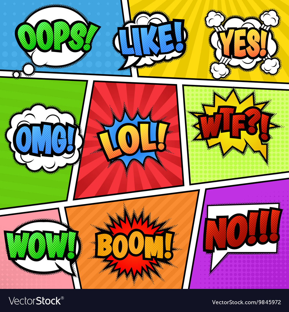 Speech bubbles tags at colorful background vector image