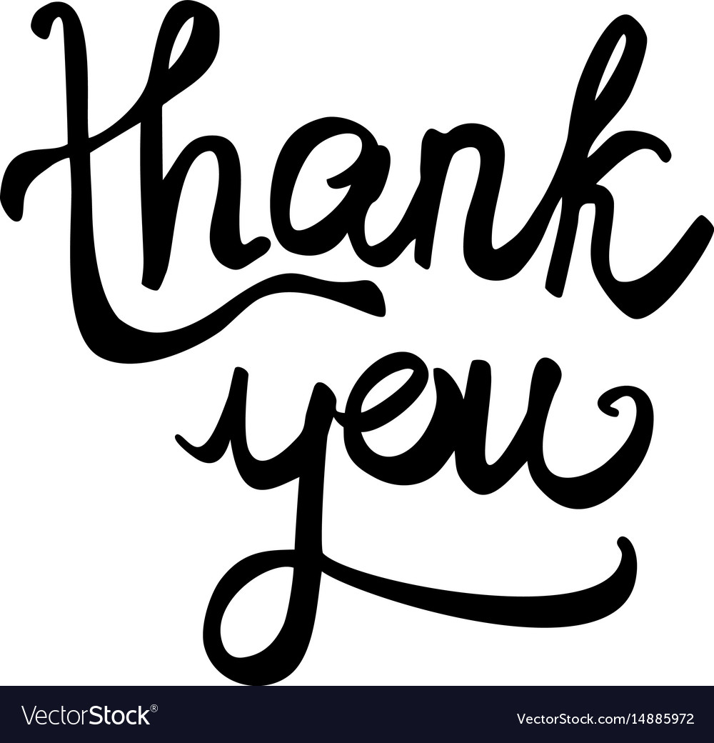 Thank you black handwritten text isolated on white vector image