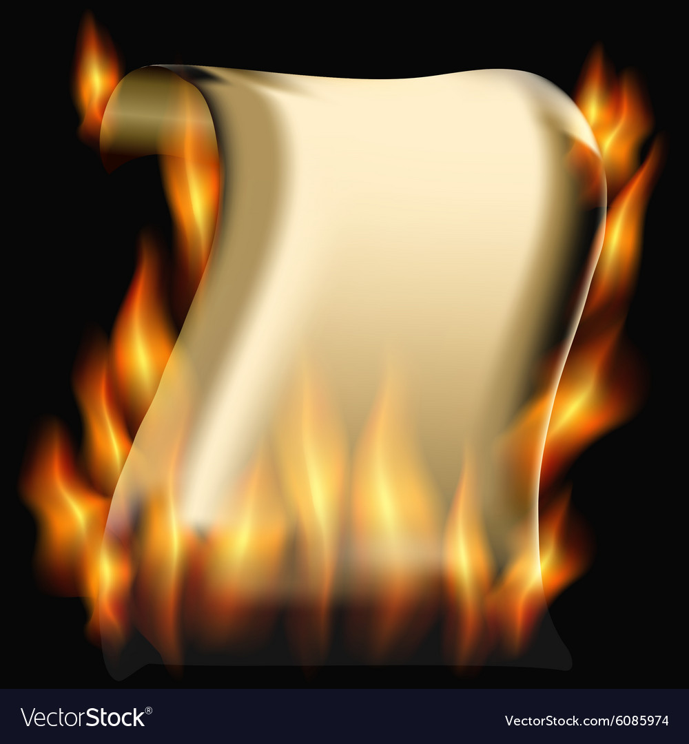 Burning paper scroll vector image