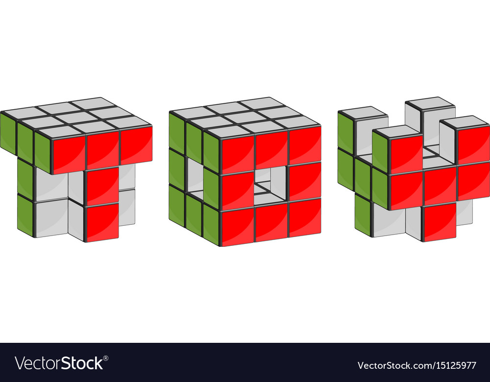 3d symbols out of blocks vector image