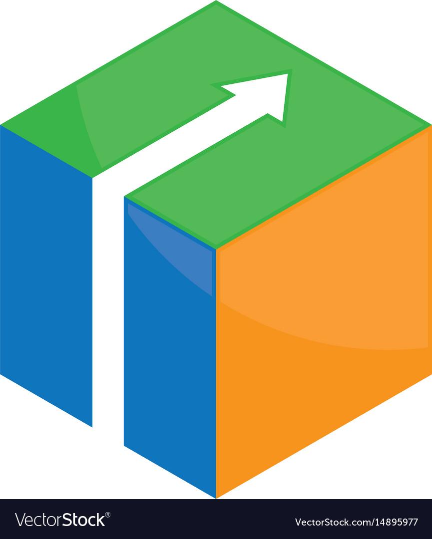 Cube 3d box logo image vector image