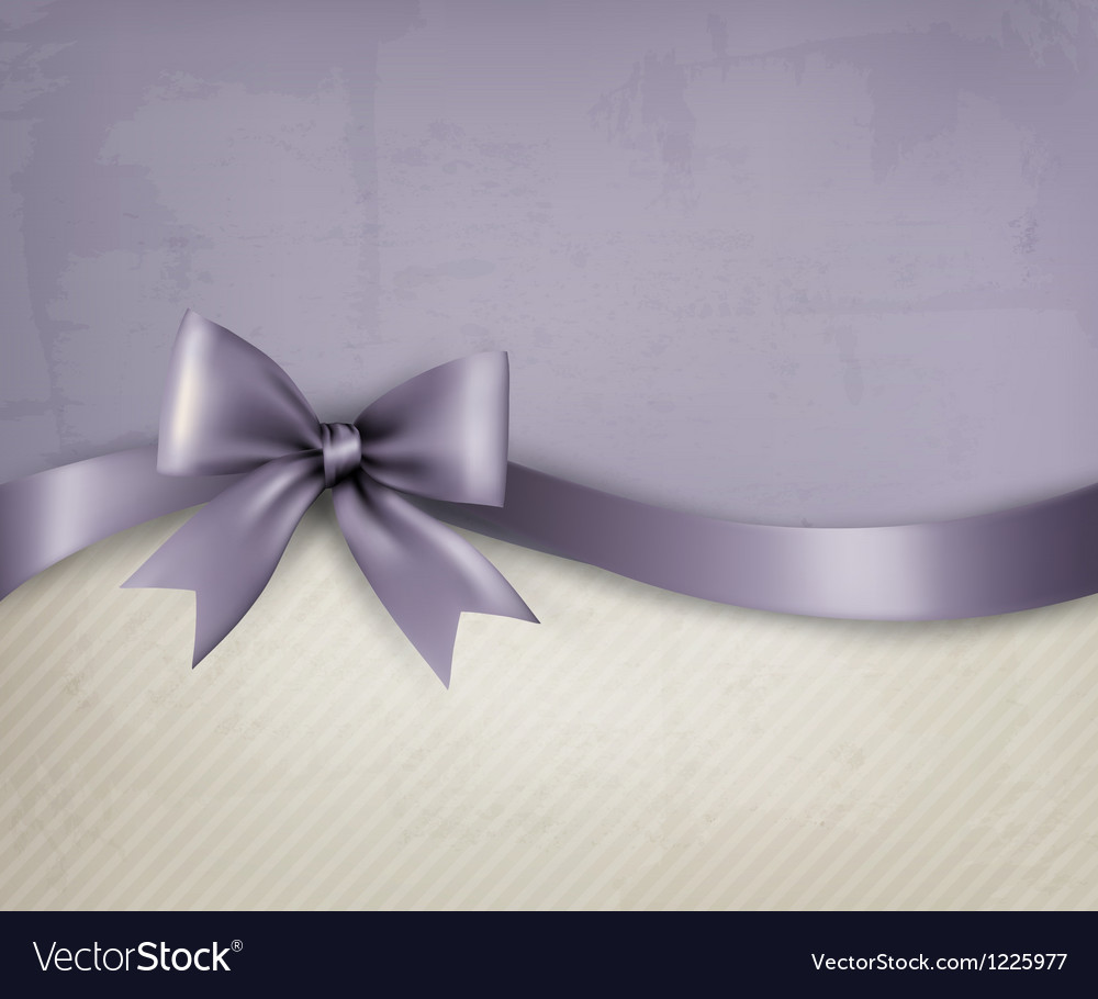 Holiday background with old paper and gift bow and vector image