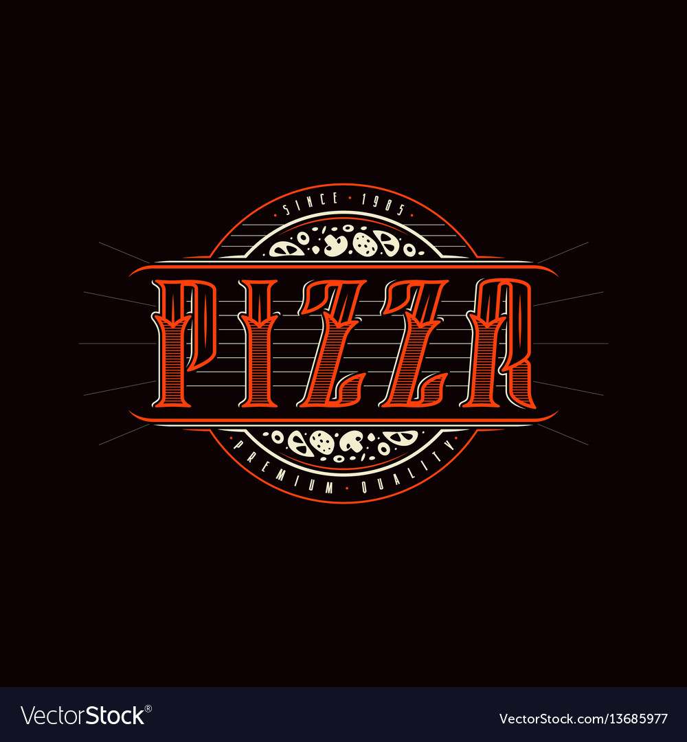 Vintage label for pizza vector image
