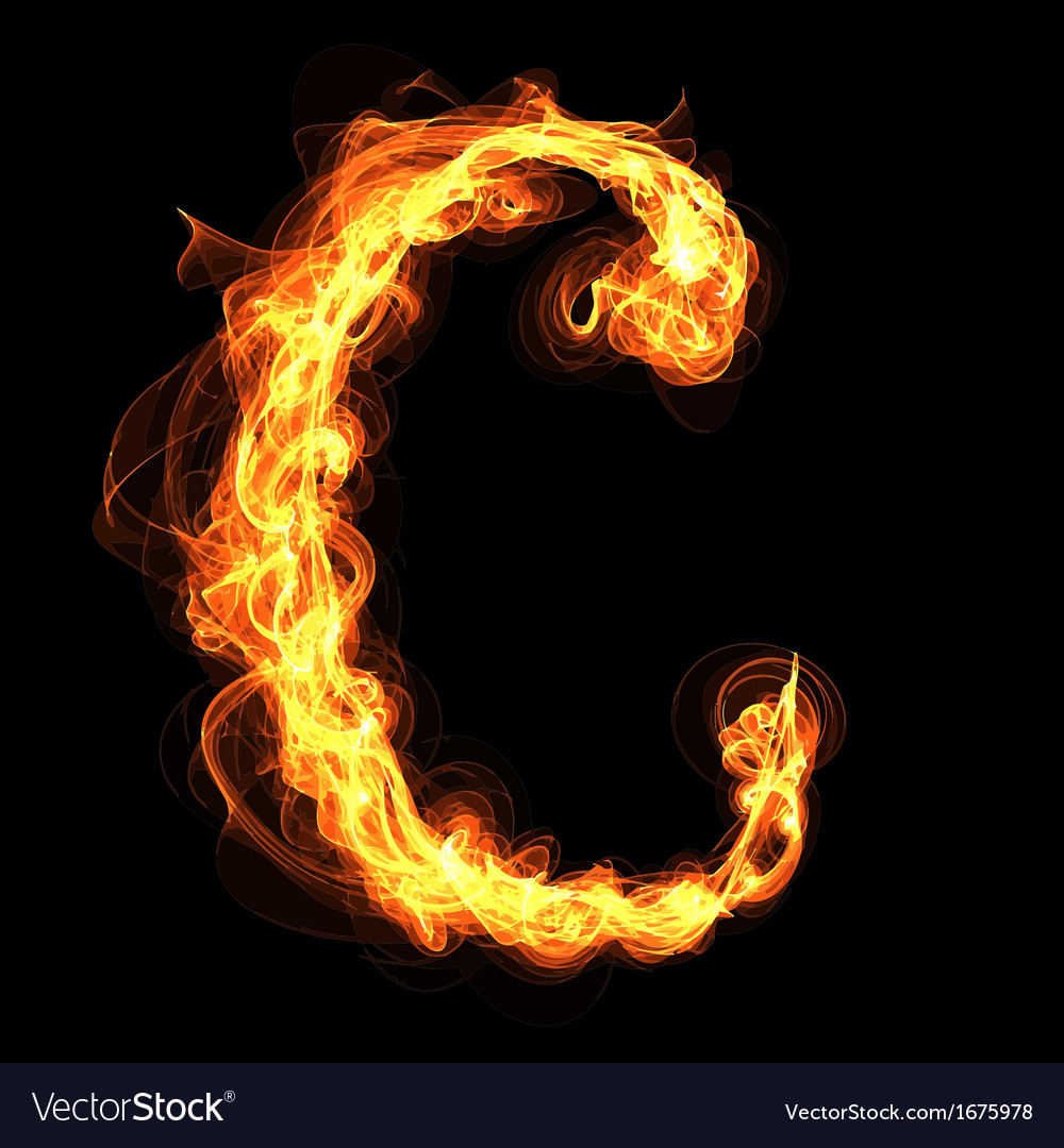 fire alphabet letter c royalty free vector image