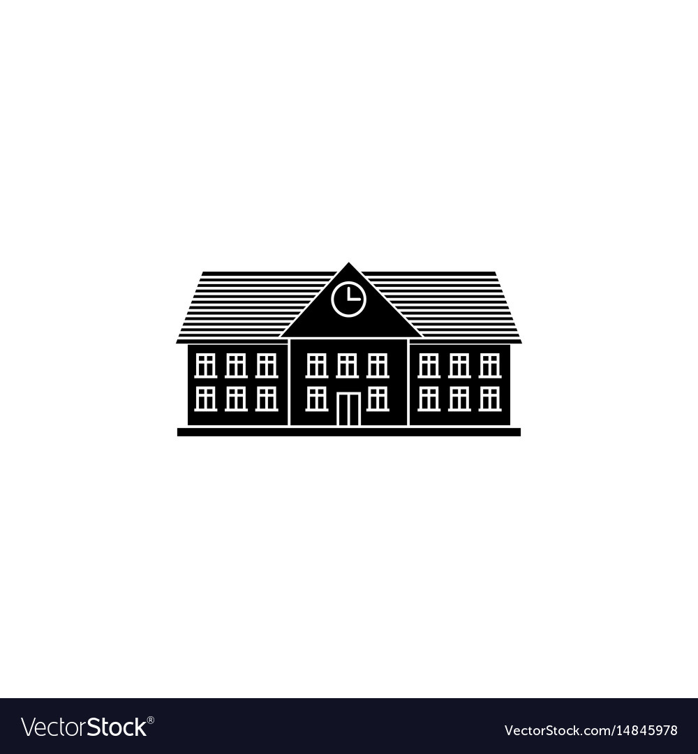 University solid icon school and building vector image