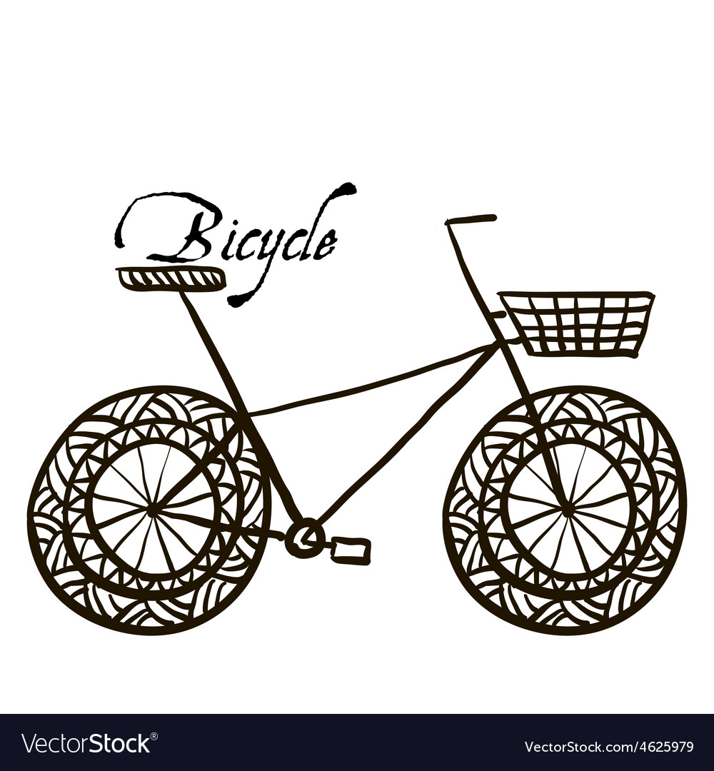 Sketch drawing a bicycle vector image