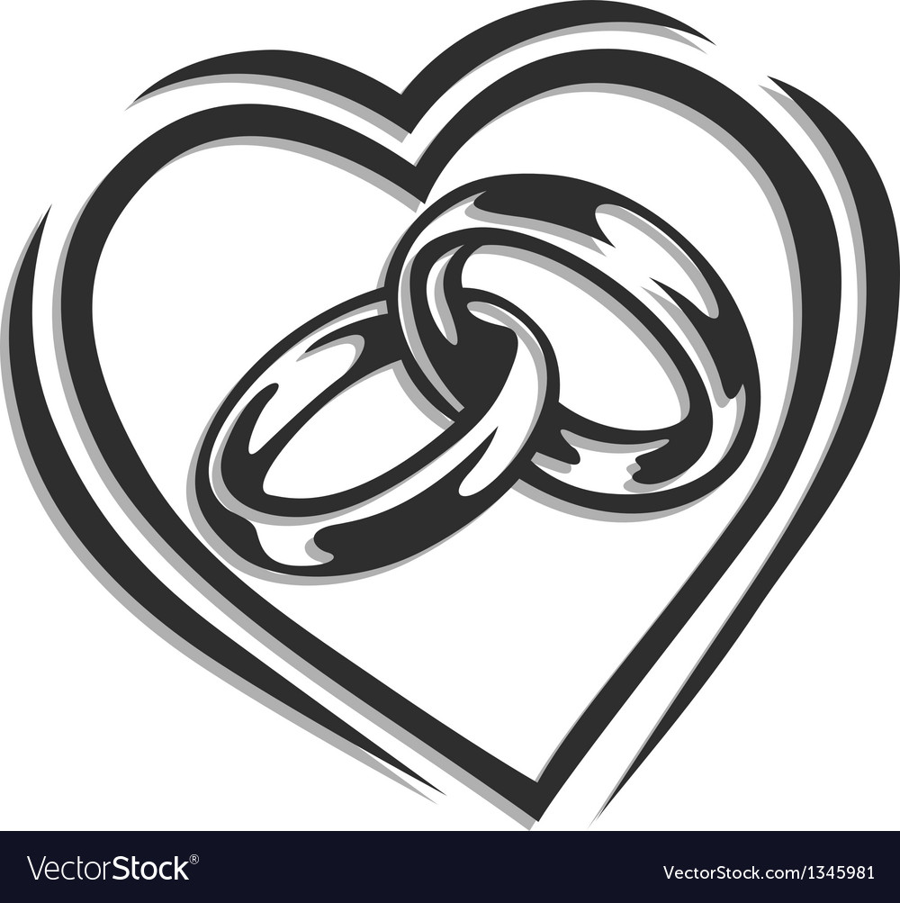 Wedding ring in heart vector image
