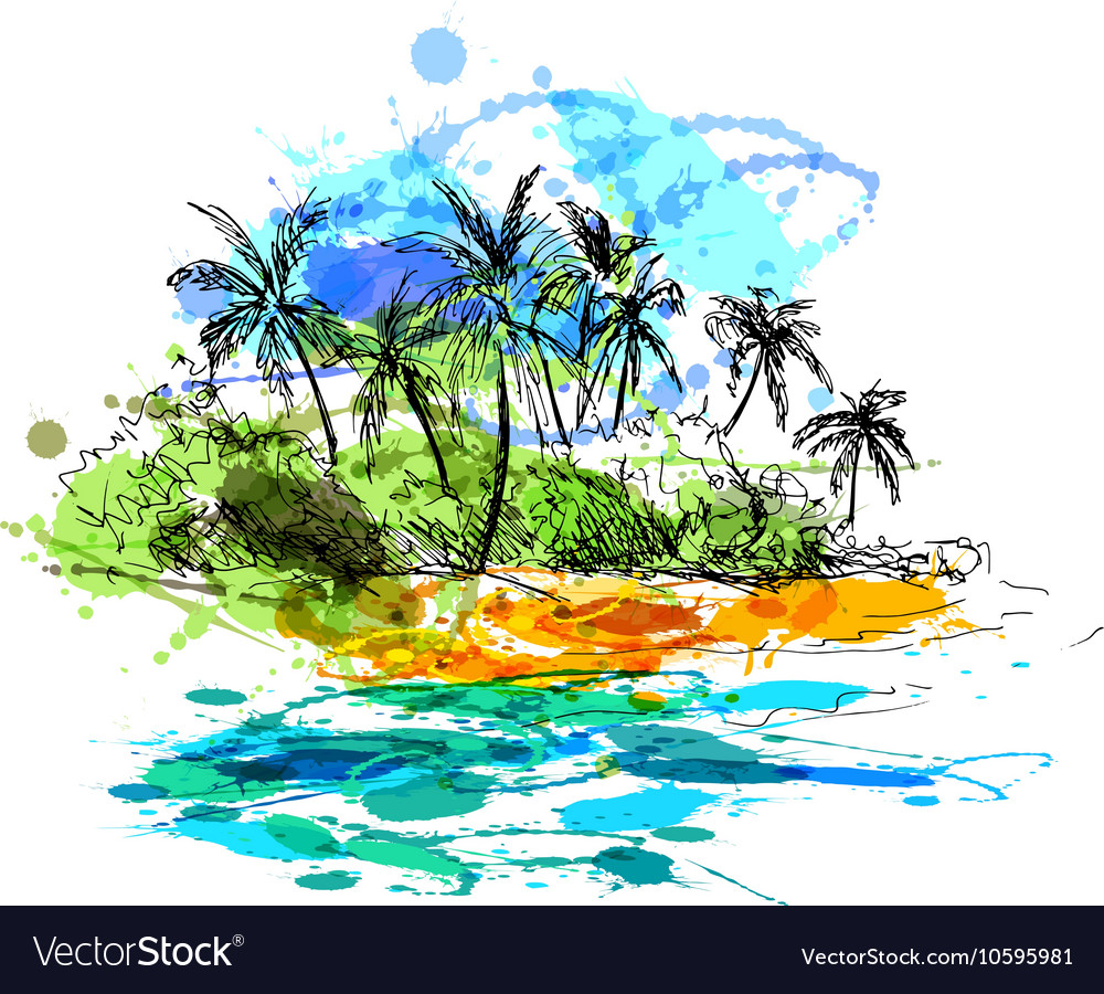 Colored hand sketch coast with palm trees Vector Image