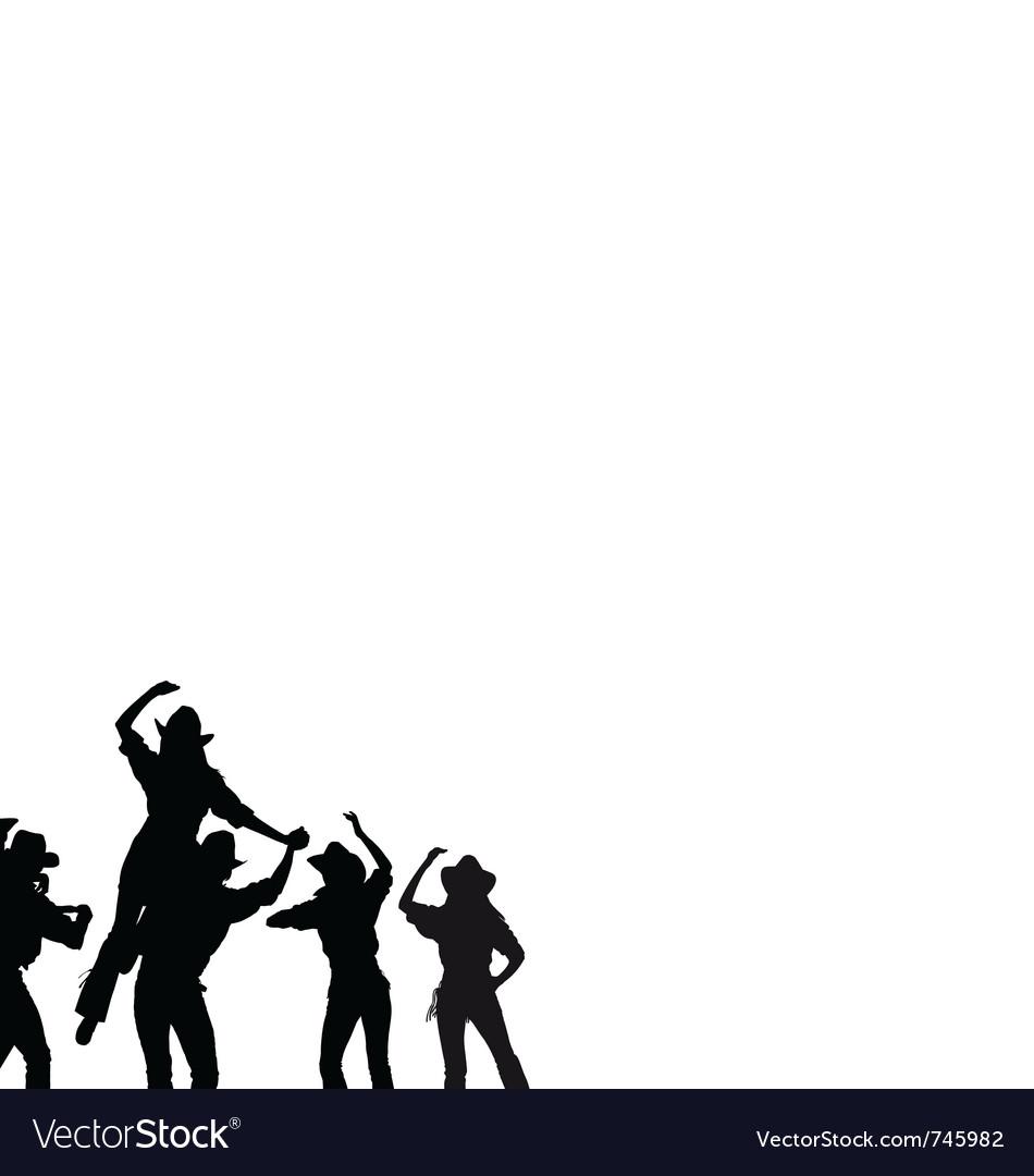 Cowboy dance silhouette vector image