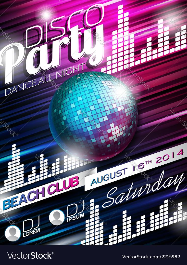 Disco Party Flyer Design with disco ball vector image