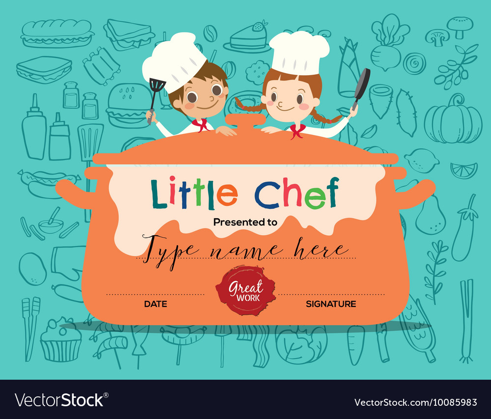 Kids Cooking Class Certificate Design Template Vector Image  Cooking Certificate Template