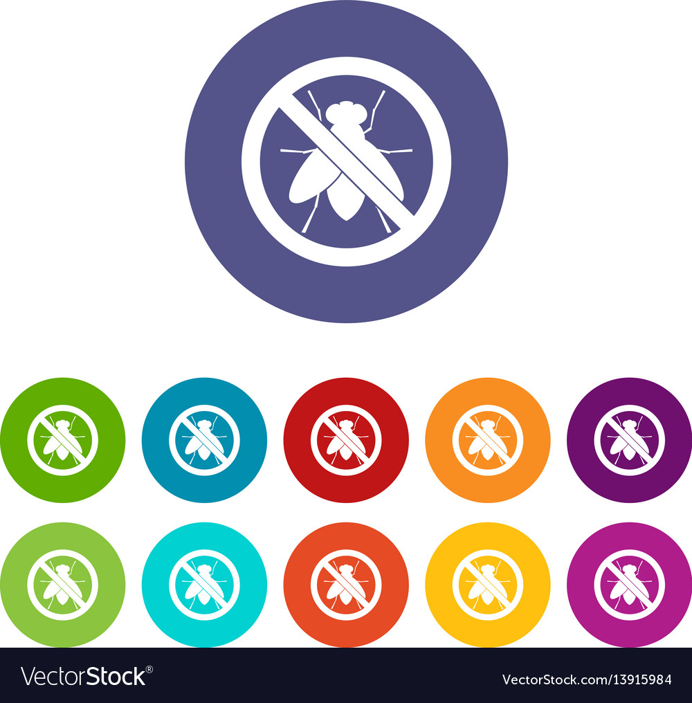 No fly sign set icons vector image