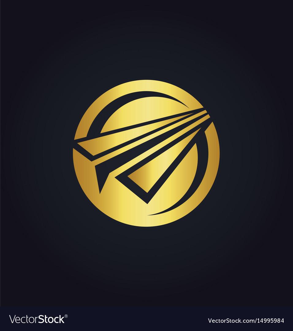 Paper plane round gold logo vector image