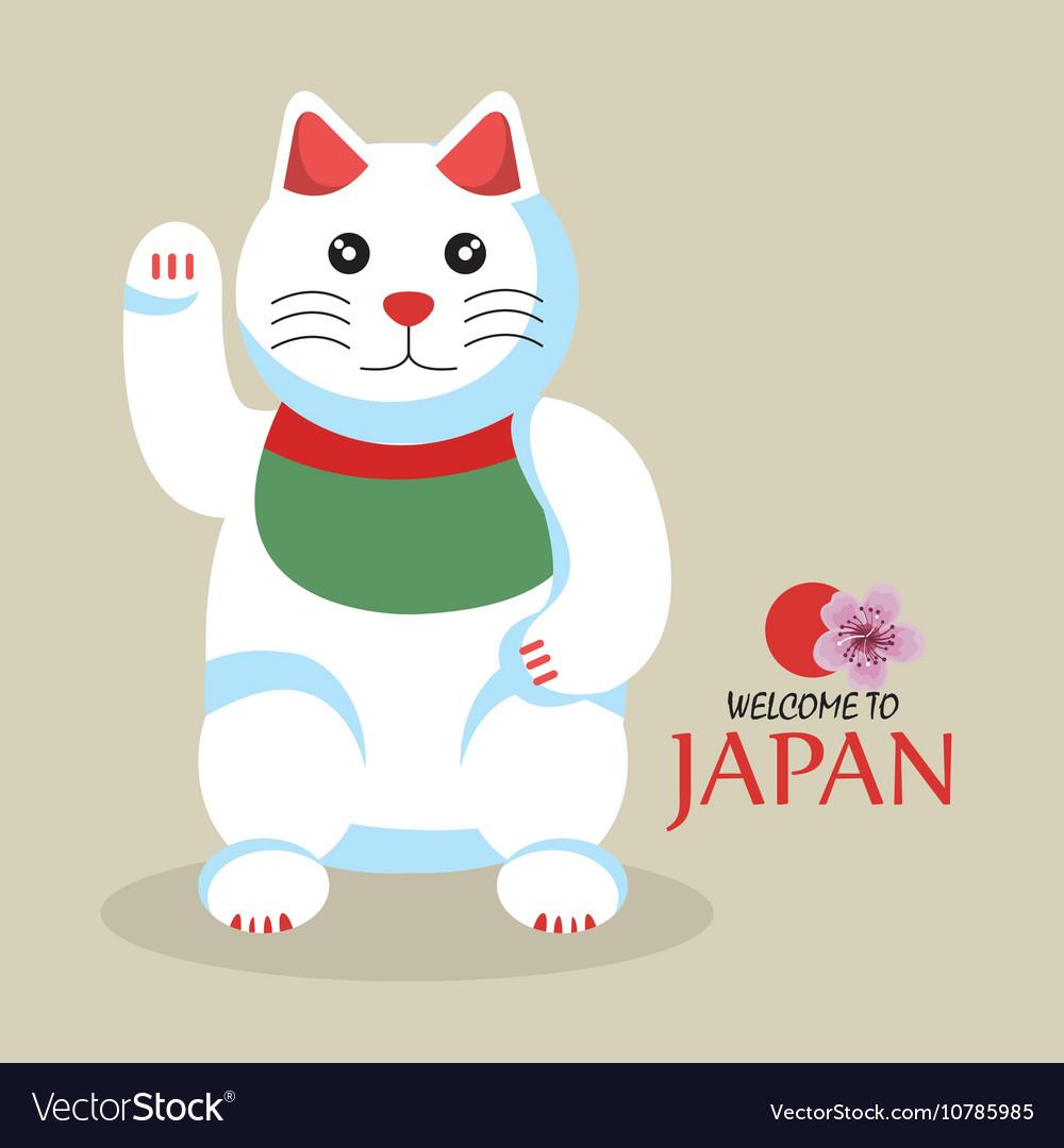Cat cartoon icon traditional culture japan design vector image