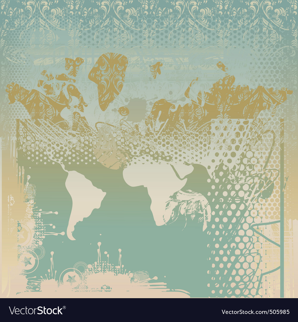 Grunge world map royalty free vector image vectorstock grunge world map vector image sciox Images