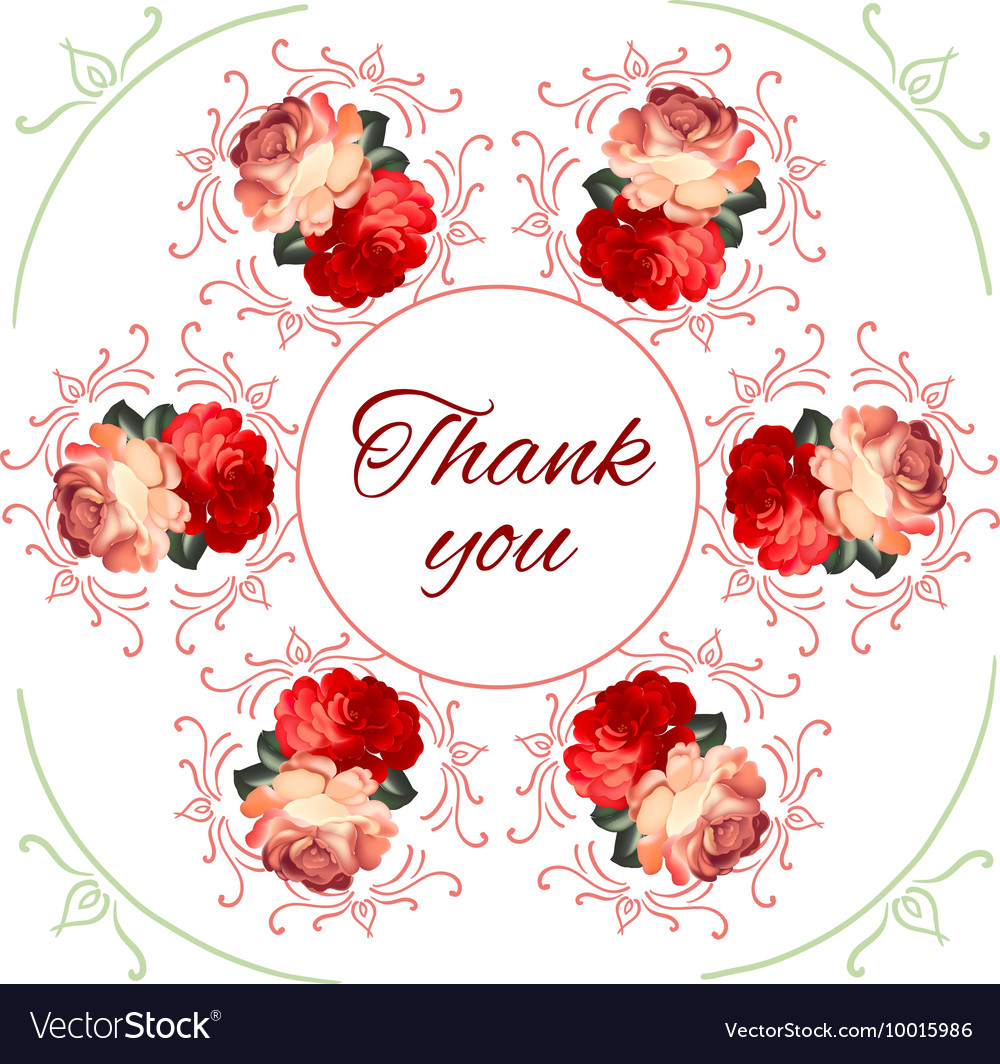 Calligraphic thank you post card with beautiful vector image