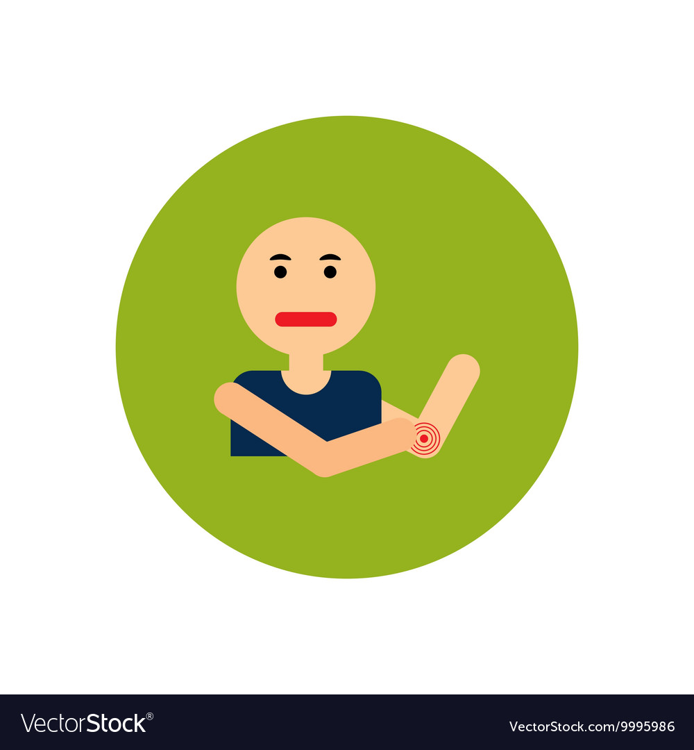 Stylish icon in color circle man joint pain