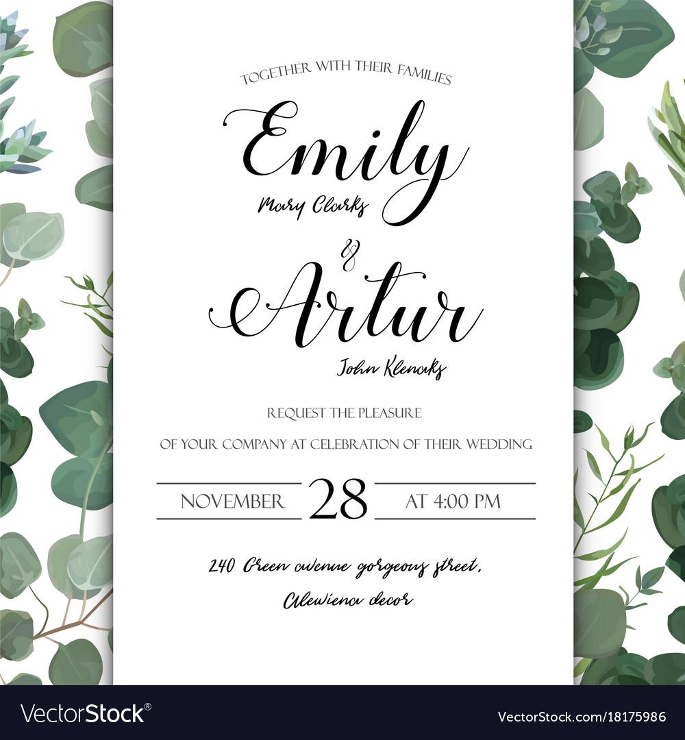 Wedding floral hand drawn invite invitation card vector image