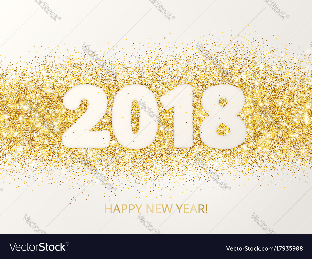 2018 glitter typography design happy new year vector image