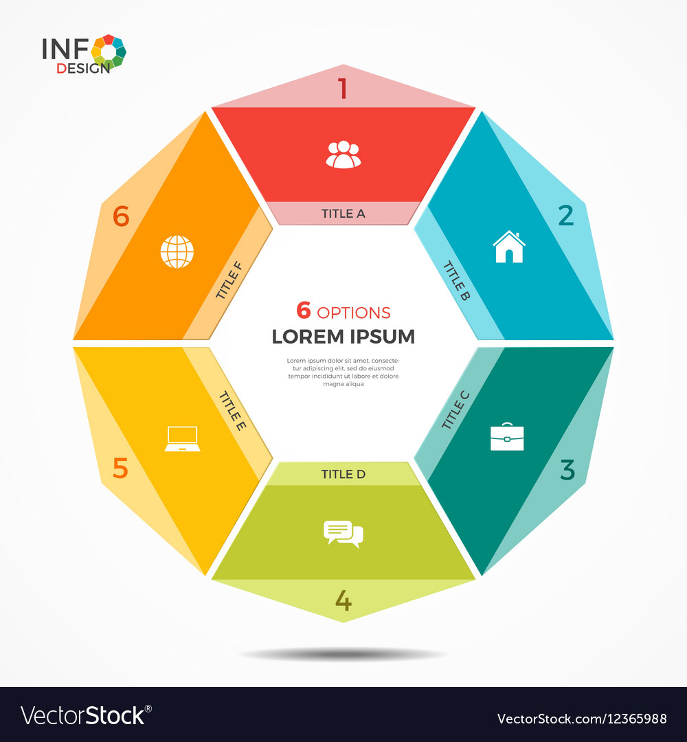 Colorful infographic template with circle chart 6 vector image