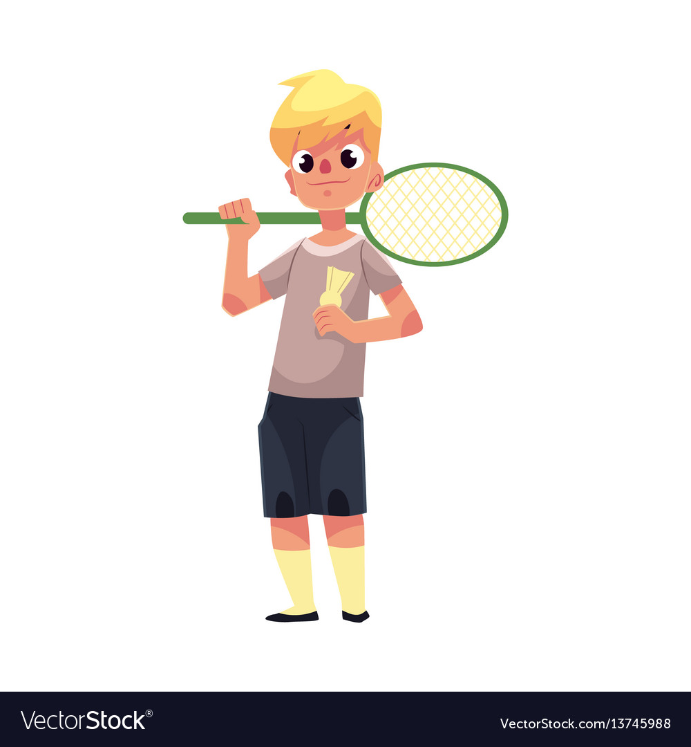 Teenage caucasian boy halding badminton racket and vector image