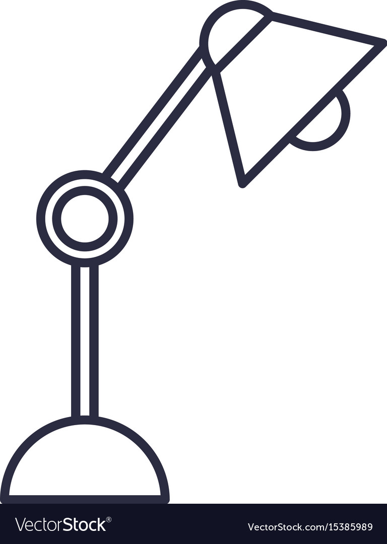 Desk lamp bulb light office object design vector image