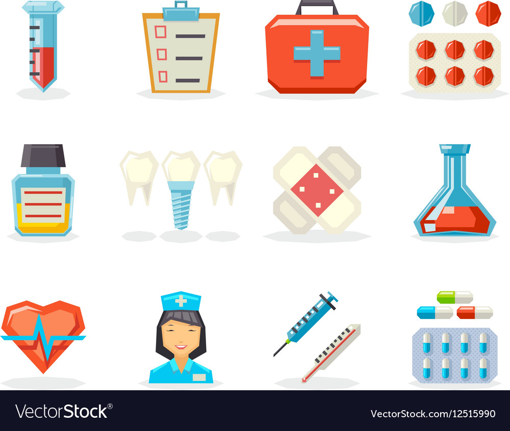 Retro Flat Medical Isolated Polygonal Icons Set vector image