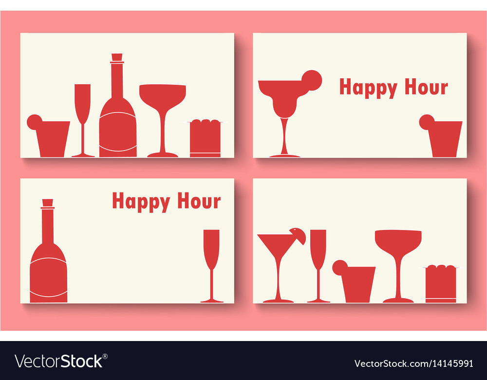 Happy hour business cards set vector image