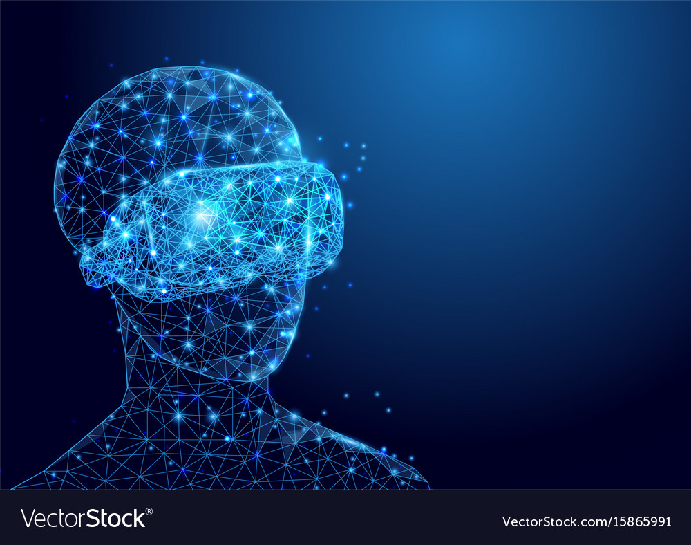 Wireframe man with vr headset sign mesh from a vector image